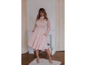 Broskvově-růžové šaty s dlouhým rukávem (Veľkosť XXXXL)