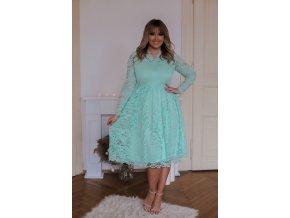 Krajkové šaty v mentolové barvě (Veľkosť XXL/XXXL)