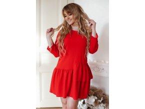 Červené krátké šaty s řasením (Veľkosť XXXXL)