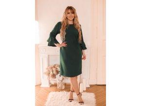 Zelené šaty s volány na rukávech (Veľkosť XXXXL)