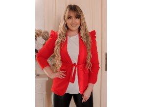 Červené sako s páskem (Veľkosť Univerzální)