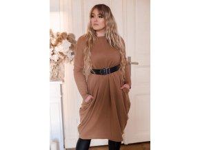 Hnědé svetrové šaty s širokými kapsami (Veľkosť XXXL)
