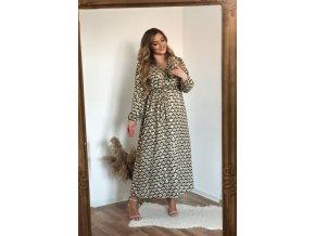 Dlouhé šaty s marockým vzorem - zelená (Veľkosť XL/XXL)