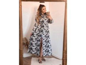 Dlouhé květinové černobílé šaty (Veľkosť XL/XXL)