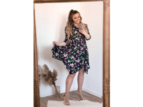 Tmavě-modré květinové šaty (Veľkosť XXL/XXXL)