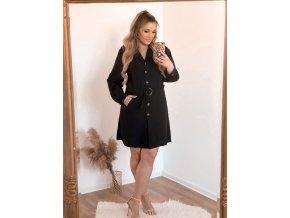 Černé košilové šaty s páskem (Veľkosť XL)