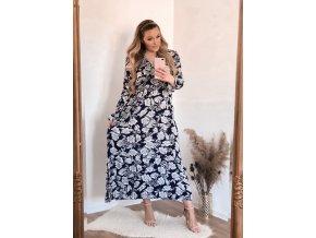 Dlouhé tmavě-modré květinové šaty (Veľkosť XXL/XXXL)