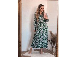 Dlouhé zelené květinové šaty (Veľkosť XXL/XXXL)