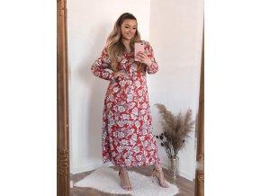 Dlouhé červené květinové šaty (Veľkosť XXL/XXXL)
