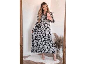 Dlouhé černé květinové šaty (Veľkosť XXL/XXXL)