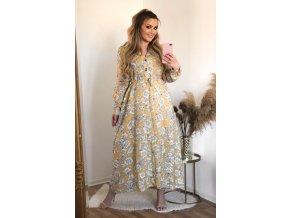 Dlouhé žluté květinové šaty (Veľkosť XXL/XXXL)