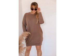 Béžovo-hnědé teplákové šaty (Veľkosť L/XL)
