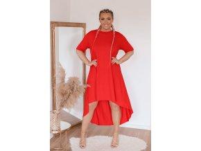 Asymetrické červené tričkové šaty (Veľkosť L/XL)