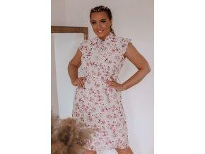 Romantické květinové šaty s krátkým rukávem (Veľkosť XXL)