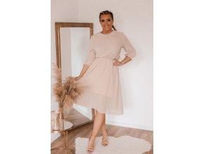Elegantní béžové šaty pod kolena (Veľkosť XL)