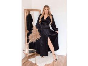 Dlouhé černé saténové šaty s rozparkem (Veľkosť M)