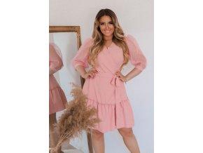 Růžové zavinovací šaty s puffovými rukávy (Veľkosť XL)