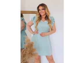 Krátké šaty v mentolové barvě (Veľkosť XL)