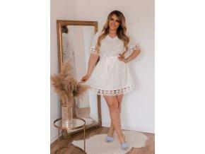 Krátké bílé bavlněné šaty (Veľkosť XL)