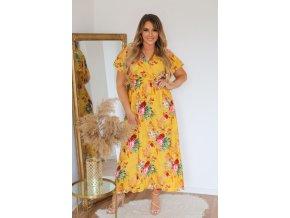 Dlouhé žluté květinové šaty s krátkým rukávem (Veľkosť XL/XXL)