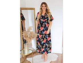 Černé květinové šaty s krátkým rukávem (Veľkosť S/M)