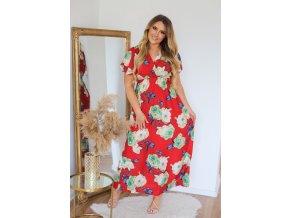 Dlouhé červené šaty s potiskem růží (Veľkosť XL/XXL)