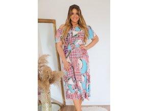 Midi tyrkysové šaty (Veľkosť XL/XXL)