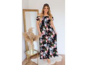 Dlouhé květinové šaty se spuštěnými rameny - černá (Veľkosť XL/XXL)