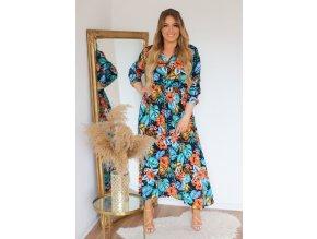 Dlouhé modré šaty s tropickým vzorem a knoflíky (Veľkosť XXL/XXXL)