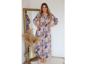 Dlouhé růžové šaty s exotickým vzorem a knoflíky (Veľkosť XXL/XXXL)