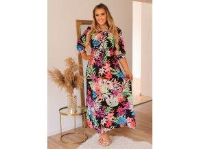 Černé šaty s barevným květinovým vzorem (Veľkosť XXL/XXXL)