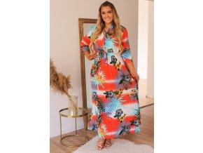 Červeno-korálové šaty s dlouhým rukávem a tropickým vzorem (Veľkosť XXL/XXXL)