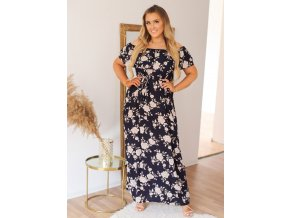 Dlouhé květinové šaty v tmavě-modré s páskem (Veľkosť XL/XXL)
