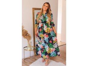 Tmavě-modré šaty s barevným květinovým vzorem (Veľkosť XXL/XXXL)