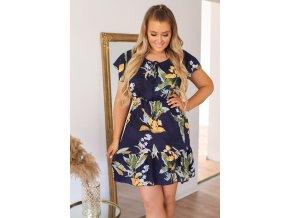 Krátké tmavě-modré květinové šaty (Veľkosť XL/XXL)