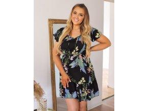 Krátké černé květinové šaty (Veľkosť XL/XXL)
