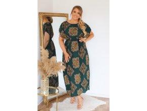Zelené šaty s páskem (Veľkosť L/XL)