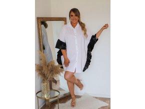 Bílá prodloužená košile s koženkovým lemem (Veľkosť L/XL)