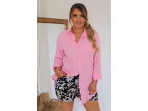 Růžová prodloužená košile (Veľkosť XXXXL)
