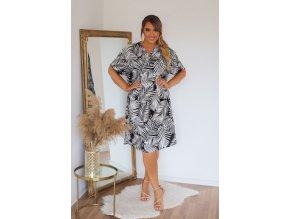Košilové šaty se vzorem palmových listů - černá (Veľkosť XXXL)