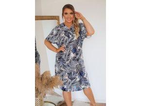 Košilové šaty se vzorem palmových listů - modrá (Veľkosť XXXL)