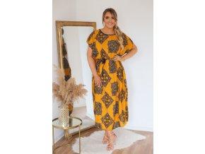 Horčičně-žluté šaty s páskem (Veľkosť L/XL)