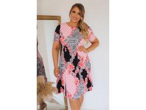 Tričkové šaty s krátkým rukávem v růžovo-černé (Veľkosť XXXXL)