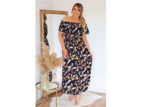 Letní šaty s květinovým vzorem v tmavě-modré (Veľkosť XL/XXL)