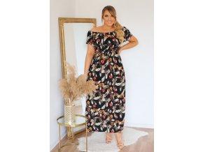 Letní šaty s květinovým vzorem v černé (Veľkosť XL/XXL)