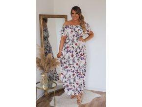 Letní šaty s květinovým vzorem v bílé (Veľkosť XL/XXL)