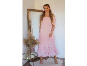 Dlouhé volné světle růžové šaty s odhalenými rameny (Veľkosť L/XL)