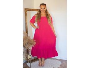 Dlouhé volné fuchsiové šaty s odhalenými rameny (Veľkosť L/XL)