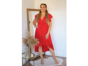 Červené asymetrické šaty s krátkým rukávem (Veľkosť M/L)