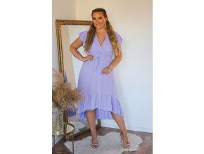 Světlo-fialové asymetrické šaty s krátkým rukávem (Veľkosť M/L)